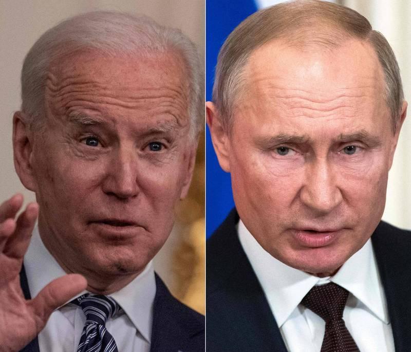 俄羅斯總統普廷(右)22日將在美國總統拜登(左)主持的線上氣候峰會中發表演說。(法新社)