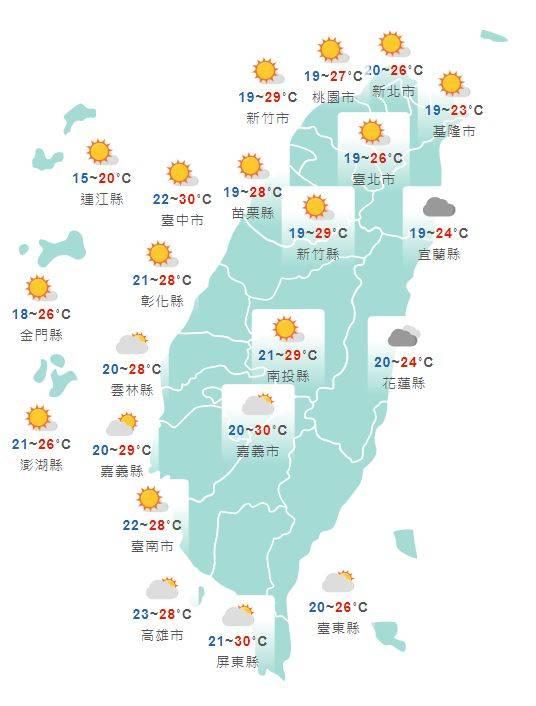 溫度方面,白天各地溫暖舒適,北部高溫稍微提高,西半部高溫可到27至30度,東半部約24至26度。北台灣早晚較涼,低溫在18度上下,其他地方低溫約20、21度。(圖擷取自中央氣象局)