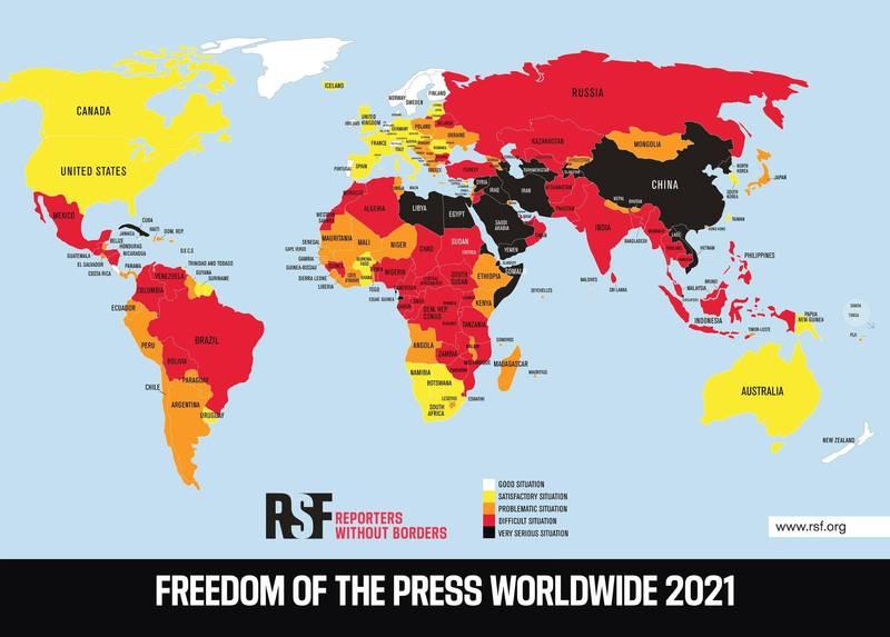 無國界記者組織(RSF)今天發布「2021新聞自由指數」報告,台灣維持在43名,與韓國、澳洲與紐西蘭同為亞太地區中少見獲得「良好」評比的國家。(無國界記者組織提供)