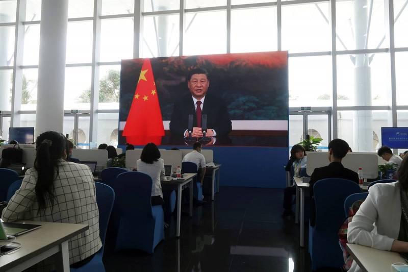 中國國家主席習近平,今(20日)以影片方式在博鰲亞洲論壇2021年會開幕式上發表談話。(路透)