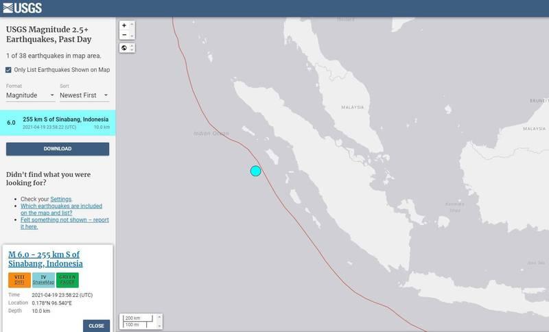 印尼又發生規模6強震。(擷取自USGS)