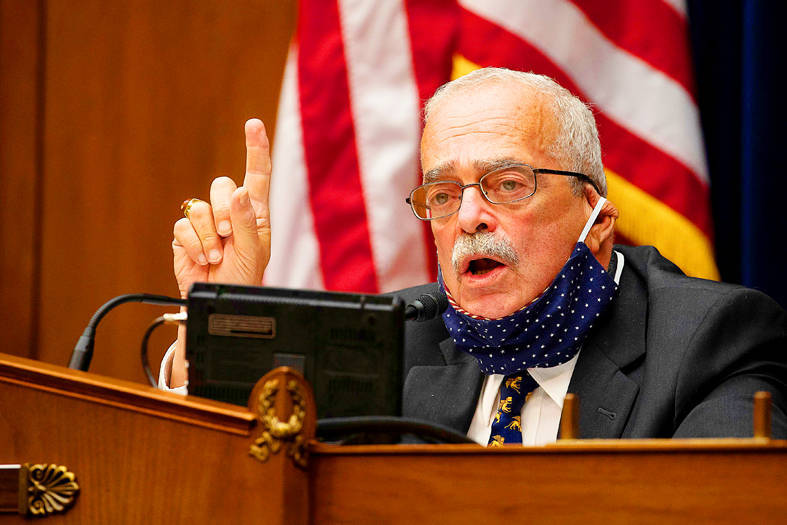 """US Representative Gerry Connolly speaks at a House Committee on Oversight and Reform Subcommittee on Government Operations hearing on """"IRS in the Pandemic"""" in Washington on Oct. 7 last year . Photo: Reuters"""