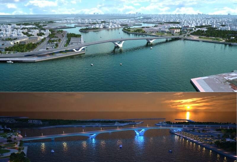 安平跨港大橋日、夜間模擬圖。(南市工務局提供,本報合成)