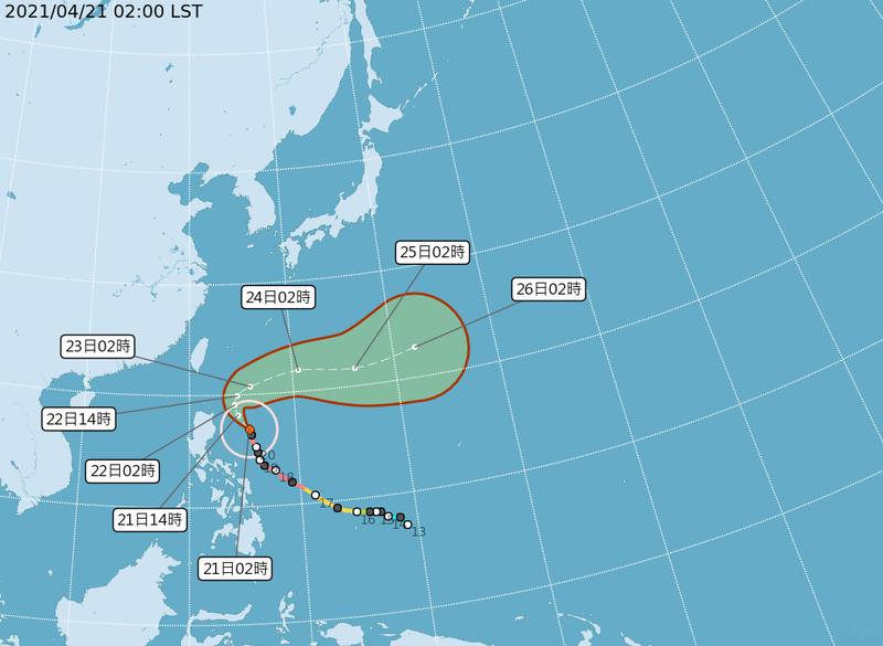 颱風路徑圖。(圖擷取自中央氣象局)