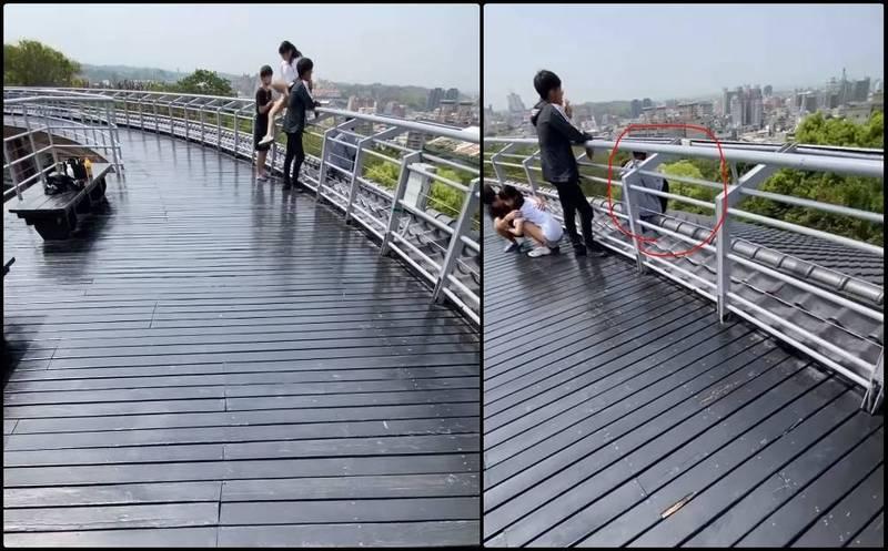 有網友在爆料公社PO文指出,在彰化市的八卦山發現有年輕男女,在某處步道竟翻到欄杆外,若一不小心會從高處摔落,但有民眾上前勸阻,竟還被罵三字經。(圖擷自爆料公社公開版)