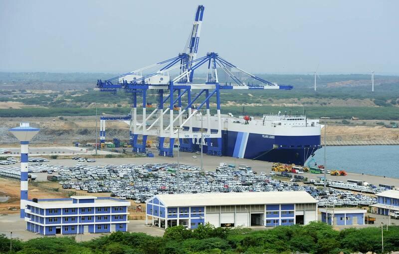 斯里蘭卡政府週二晚上在中國控制的漢班托塔港口發現該船載有「六氟化鈾」。漢班托塔港口示意圖。(法新社)