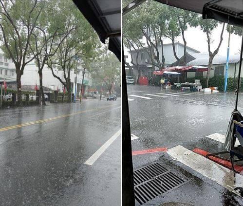 1名網友在今天早上8點多在臉書社團「爆怨2公社」PO文放上2張照片,只見圖片中地區大雨直下,甚至因為雨量過大造成路面積水的景象,讓原PO無奈表示,「請把雨下到缺水的地方」。(圖擷取自《爆怨2公社》)