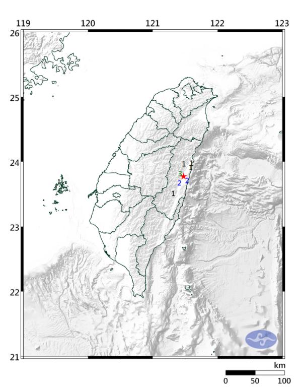 花蓮今天晚間發生小區域地震,震央位於花蓮縣鳳林鎮。(圖擷自氣象局)