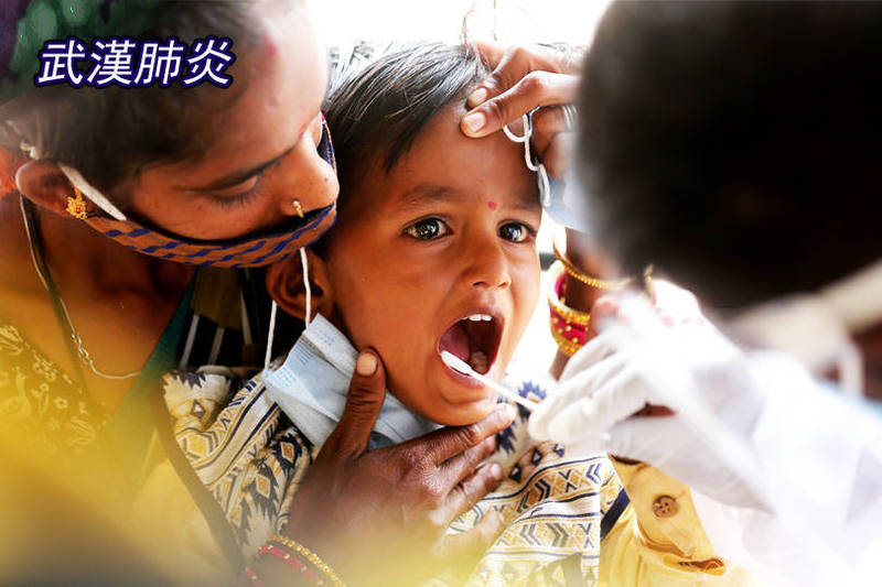 印度驚現「三重突變」武肺病毒株。圖為病毒篩檢示意圖,非新聞當事人。(歐新社;本報合成)