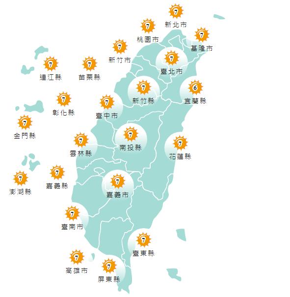 紫外線方面,明天各縣市均為中量級至高量級。(擷取自中央氣象局)