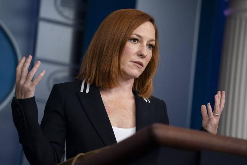 白宮新聞秘書莎琪(Jen Psaki)21日在例行新聞會上回答澳洲撤銷「一帶一路」協議的問題。(美聯社)
