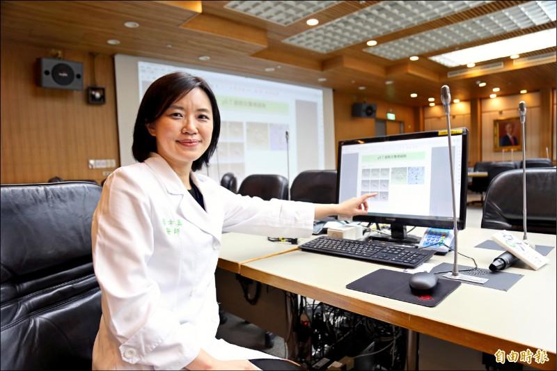 台大醫院內科部蔡幸真醫師率研究團隊,以血癌藥物DNA去甲基化藥物促進「γδ T細胞」抗癌,經動物實驗證實可縮小肺癌腫瘤、增加存活率。 (記者邱芷柔攝)