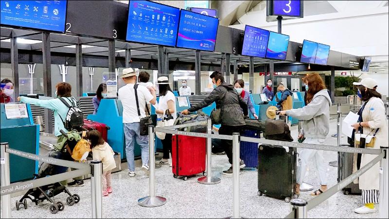 帛琉是首個與我國進行旅遊泡泡的國家;圖為出遊帛琉的旅客在華航櫃台辦理報到。(資料照)