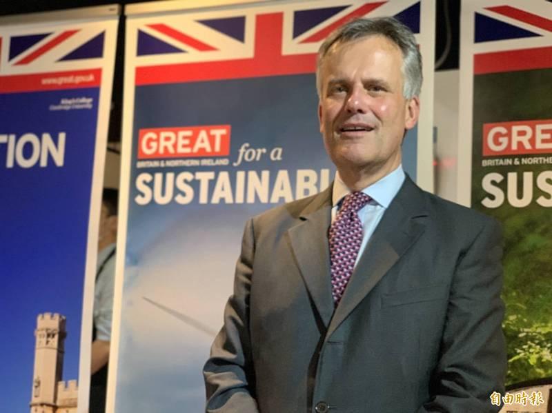 英國在台辦事處代表鄧元翰昨舉辦媒體餐會,他表示,期待在今年十月舉辦一年一度的台英經貿對話會議,強化整體雙邊貿易。(記者呂伊萱攝)