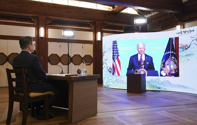 氣候變遷領袖視訊峰會22日召開,這是美國總統拜登上任後首次主辦的國際重要領袖視訊峰會。(歐新社)