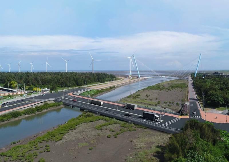 清水濱海橋改建啟動,完工模擬圖。(記者張軒哲翻攝)