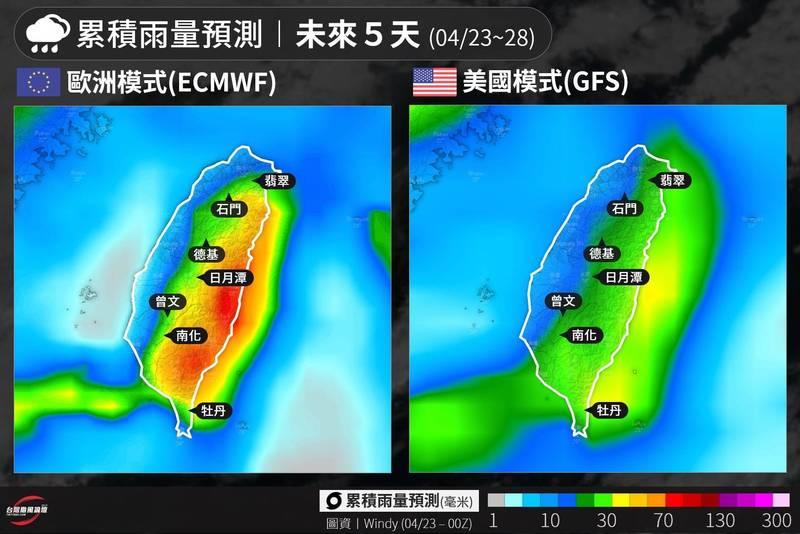 「台灣颱風論壇|天氣特急」PO出一張23日至28日全台重點水庫累積雨量的歐、美模式預測圖,可見雖然兩者預測數據不盡相同,但德基、日月潭、南化、曾文以及牡丹等位於中南部的水庫,數據預測都能獲得超過30毫米的累積雨量,有機會紓解旱象。(圖取自「台灣颱風論壇|天氣特急」臉書粉專)