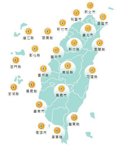 紫外線方面,明天各地多為黃色「中量級」,嘉義縣、台南市、高雄市、屏東縣、台東縣、金門縣及澎湖縣則為橘色「高量級」。(圖擷取自中央氣象局)