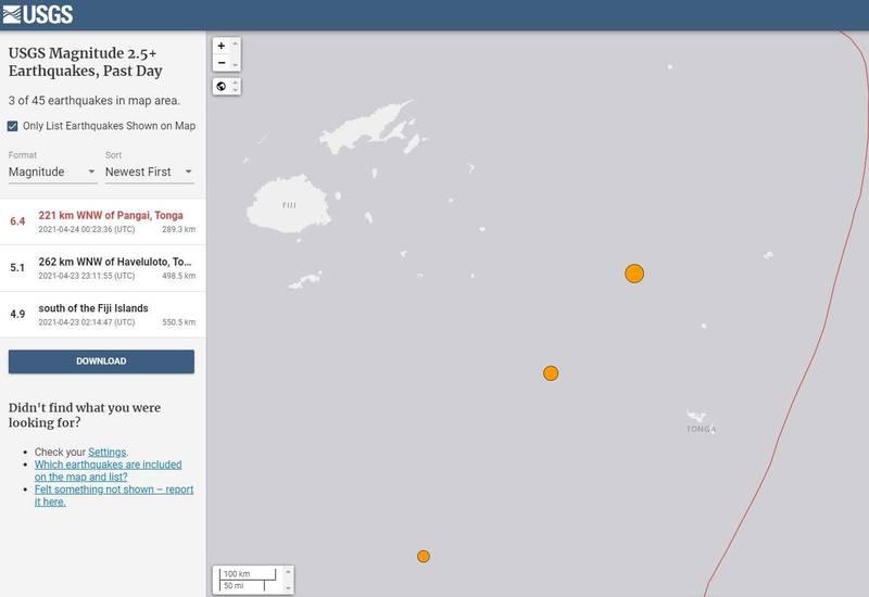東加王國在台灣時間今(24日)上午8時許發生規模6.4強震。(擷取自USGS)