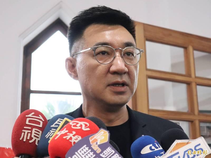 國民黨主席江啟臣表示,以平常心看待,並尊重每位符合資格及表態參選黨主席的人。(記者歐素美攝)