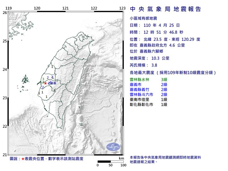 今中午12點51分,嘉義再度發生規模3.8地震,最大震度3級。(圖擷自中央氣象局)