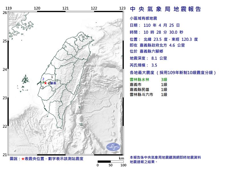 今上午10點28分,嘉義發生規模3.5地震,最大震度3級。(圖擷自中央氣象局)