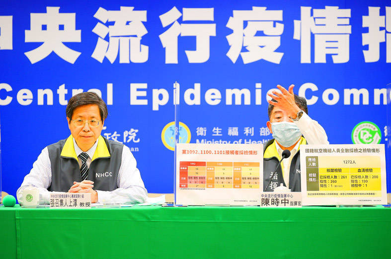 Minister of Health and Welfare Chen Shih-chung, right, who heads the Central Epidemic Command Center (CECC), gestures as CECC specialist advisory panel convener Chang Shan-chwen looks on at a news conference in Taipei yesterday. Photo: CNA