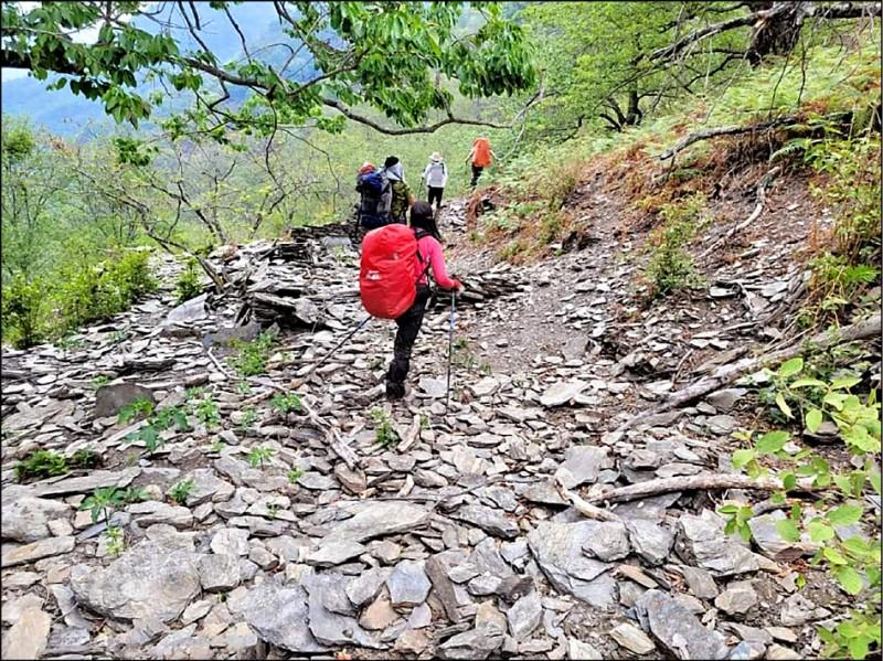 中央山脈南三段亞力士營地一帶路徑,疑因地震造成崩塌,令在山上的山友驚訝不已。(民眾提供)