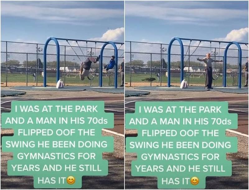 國外一名年約70歲的阿公在公園盪鞦韆,接著一個體操式後空翻完美落地,還作出展臂向觀眾致意的姿勢。(圖翻攝自@u.already.know.who.it_is_抖音)