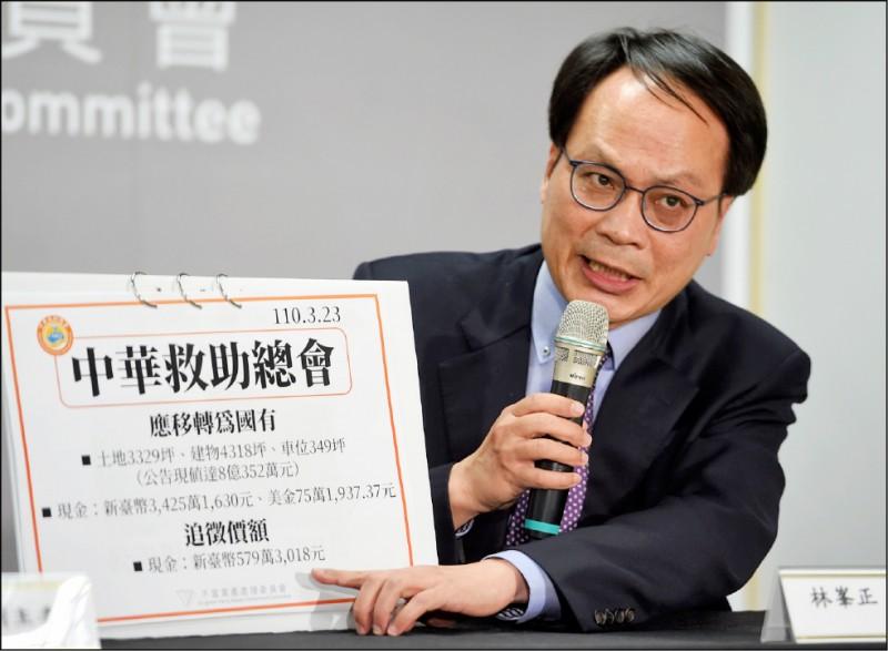 黨產會認定中國國民黨附隨組織「中華救助總會」財產為不當黨產,應收歸國有。(資料照)