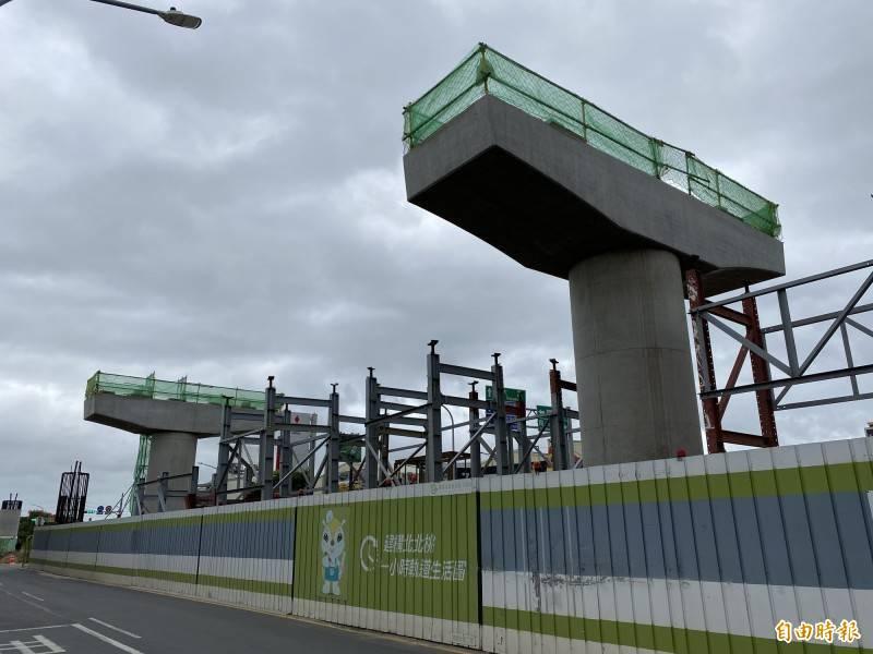 桃園市蘆竹區新建中的捷運綠線G13A工地,25日發生工安意外,鍾姓工人經過2天搶救,宣告不治。圖為捷運綠線工地示意圖。(資料照)