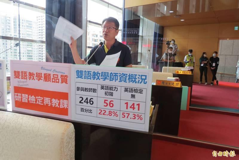市議員王立任認為雙語教學的老師必須先研習檢定再教課。(記者蘇金鳳攝)