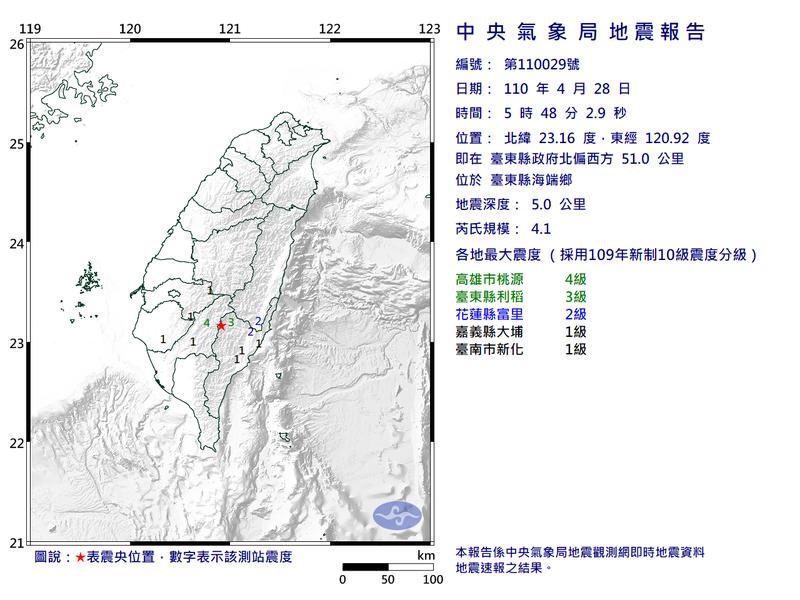 台東海端鄉今晨發生4起地震,最大震度達4級。(圖擷取自中央氣象局)