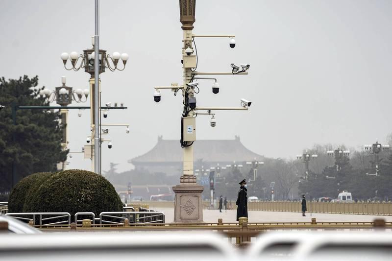 中國北京天安門廣場上的監視器。(彭博檔案照)