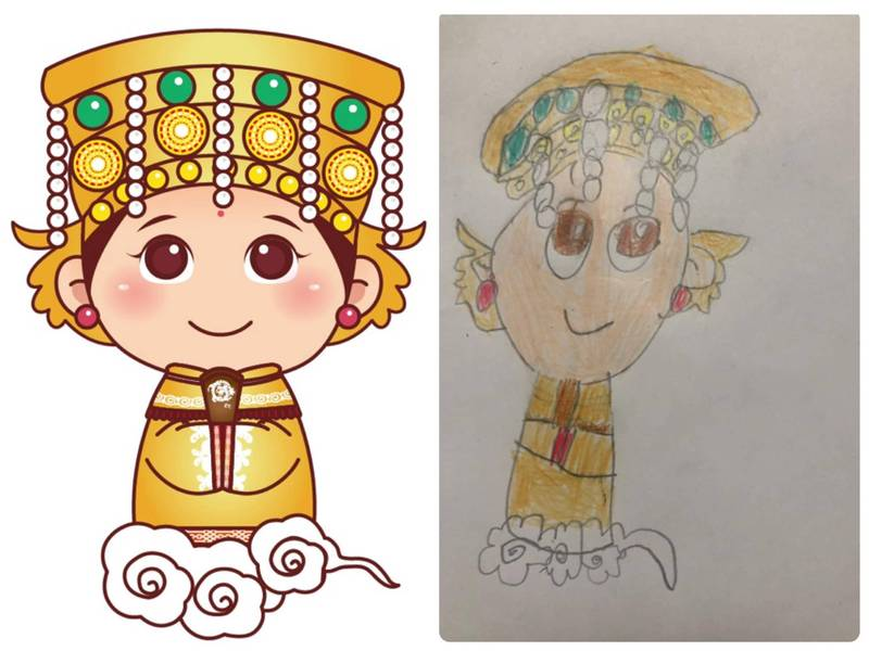 一名幼兒園大班女童畫「白沙屯媽祖」(右),帶有個人的強烈童趣風格,網友讚嘆連連。(圖取自臉書_爆怨2公社)