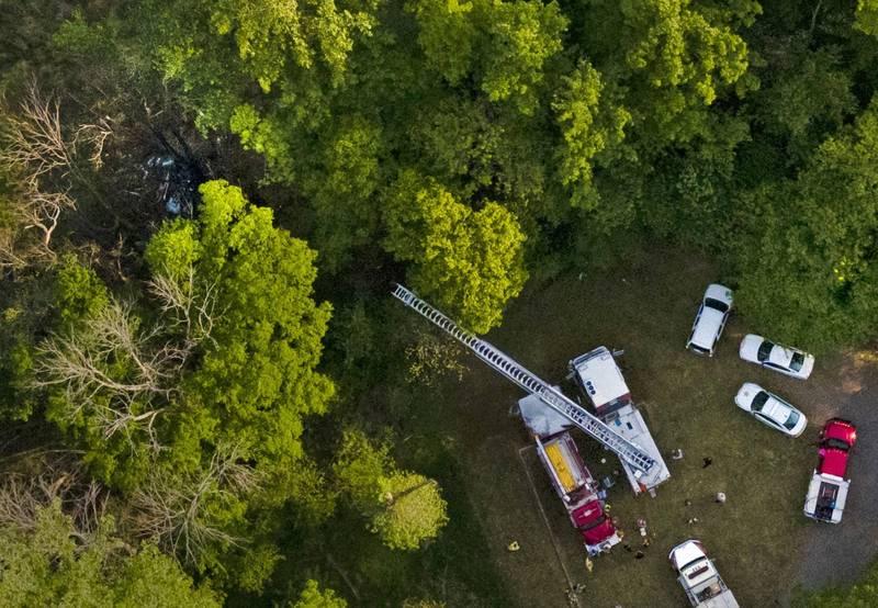 杜克能源公司一架直升機墜毀,造成1死2傷。(美聯社)