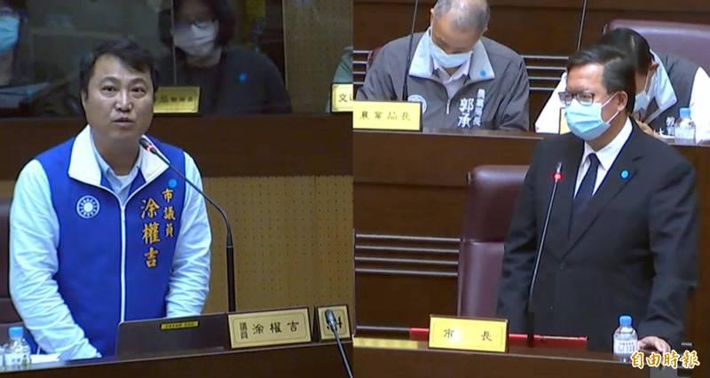 市議員涂權吉質詢華航機師確診事件後續發展。(記者謝武雄攝)