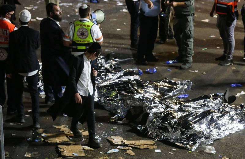 以色列篝火節發生大規模踩踏事件,至少釀成44死、數十人受傷。(歐新社)