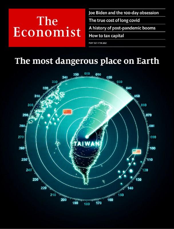 「經濟學人」四月三十日公布當期封面,以台灣雷達圖為主視覺,左有中國五星旗、右有美國星條旗,並稱這是「地球上最危險地區」。(圖取自The Economist臉書)
