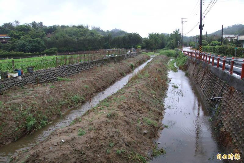 新竹縣關西鎮下橫坑溪淤積嚴重,但因公所沒錢,所以迄今沒有清淤計畫。(記者黃美珠攝)
