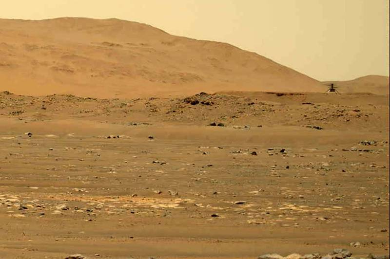火星微型直升機「機智號」(Ingenuity)於昨(4月30日)完成第四次飛行。(美聯社)