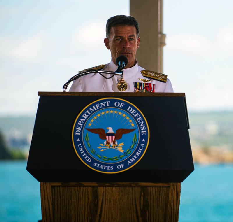 美國海軍上將阿基里諾(John Aquilino)接任戴維森(Phil Davidson)成為印太司令,在交接儀式上特別點名感謝我海軍司令劉志斌。(圖擷自美國印太司令部官網)