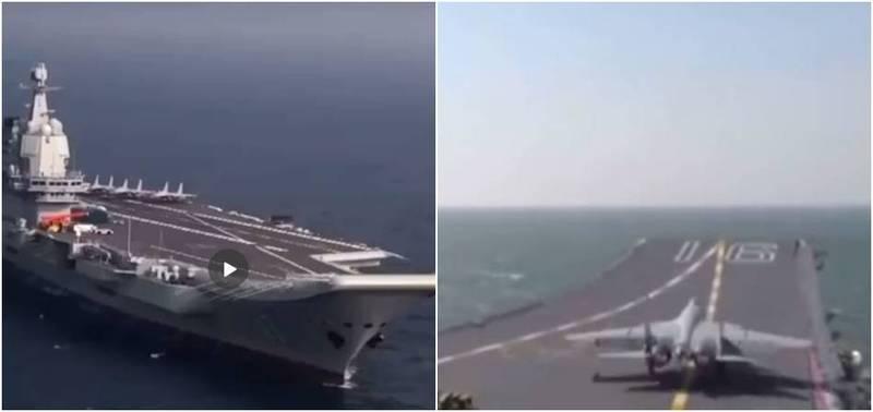 共軍今日證實山東艦在南海演習,相關畫面曝光。(圖翻攝自遼寧共青團_微博)