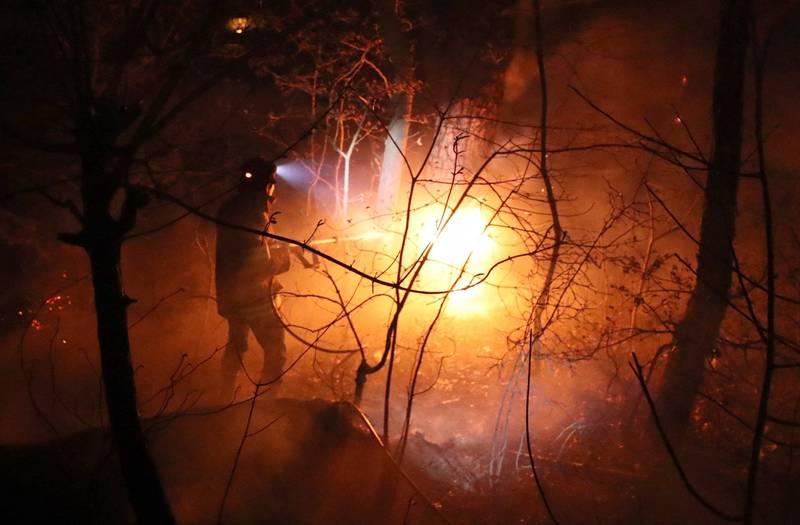 南韓今年2月發生火燒山事件,竟然是小學生看YouTube學烹飪因此造成野火。南韓野火示意圖。(法新社)