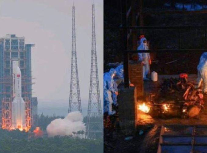 「中國長安網」1日發文「中國點火VS印度點火 #印度單日新增確診40萬例#」,並配上一張合成圖片,左邊是中國發射火箭現場,右邊則是印度火化染疫死亡的遺體的照片。(擷取自微博)