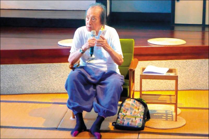 詩人管管2019年出席國立台灣文學館詩的復興活動。(國立台灣文學館提供)