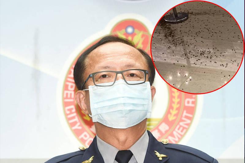 台北市警局長陳嘉昌今晚出席大安區臥龍義警中隊聚餐,卻傳出,在他抵達前有2名年輕男子闖入餐廳,拿著兩大袋蟑螂到餐廳大廳亂丟,隨即逃離。(本報合成)