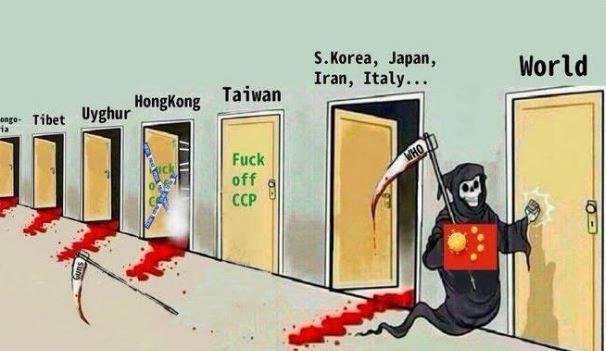 也有圖片修成只有台灣的門沒有血跡流出,象徵著我國在防堵中共方面做得很好,但如今中國正敲著世界的大門,可能全球各國都要小心了。(圖擷自@yRfEPnw6QZutzNg推特)