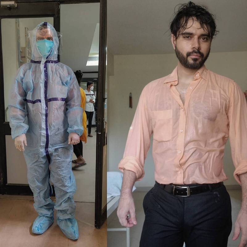 馬瓦那日前PO出自己脫下防護衣後,汗流浹背的照片,吸引超過13萬人按讚。(圖取自@DrSohil推特)