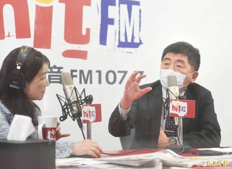 中央流行疫情指揮中心指揮官陳時中,今(3)日接受廣播節目訪問。(記者方賓照攝)